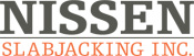 Nissen Slabjacking Inc. logo. Business located in Spicer Minnesota.